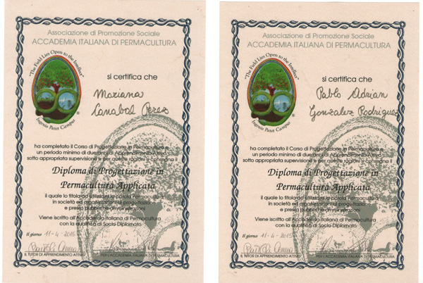 Diplomas Academia Italiana de Permacultura - Mariana Canabal y Pablo Gonzalez