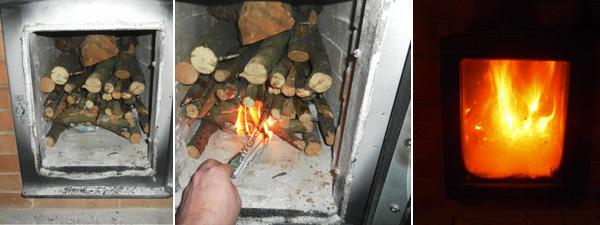 encender el fuego en la estufa rusa