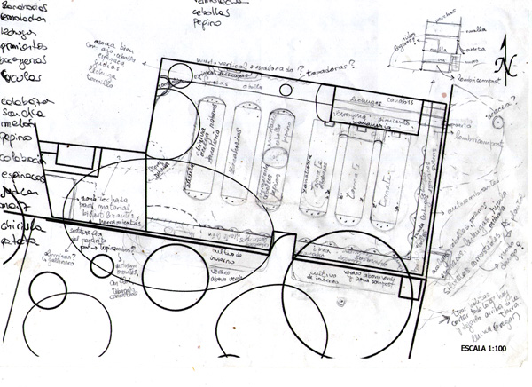 esbozo diseño huerto intensivo. Diseño permacultura Can Pou