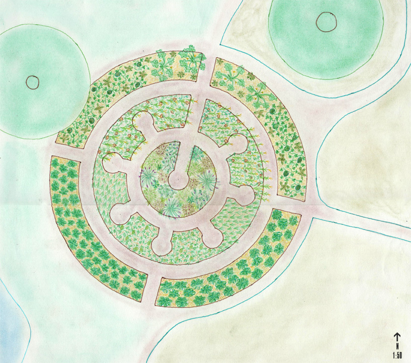 Diseño huerto mandala. Diseño permacaultura Can Pou